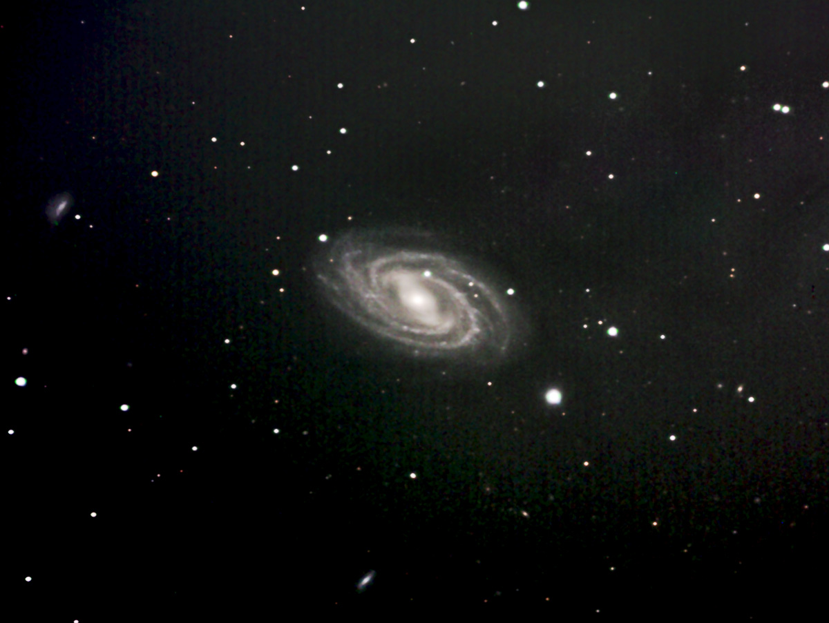 We were nearly despairing of the lousy weather in April until the last night of the month when a short opening occured overnight. We wanted to get a good shot of M109, the beautiful barred-spiral galaxy in Ursa Major, and this one will have to do for now.