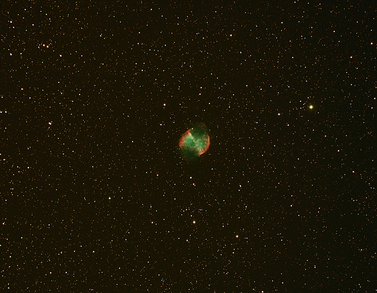 "This is Messier 27, The Dumbbell Nebula.  Located in the constellation Vulpecula (the ""little fox"") it is a favorite object in the summer skies due to is brightness, large size and recognizable shape.  This image was acquired with an AstroTech AT106LE refractor and SBIG ST-8300M CCD camera."