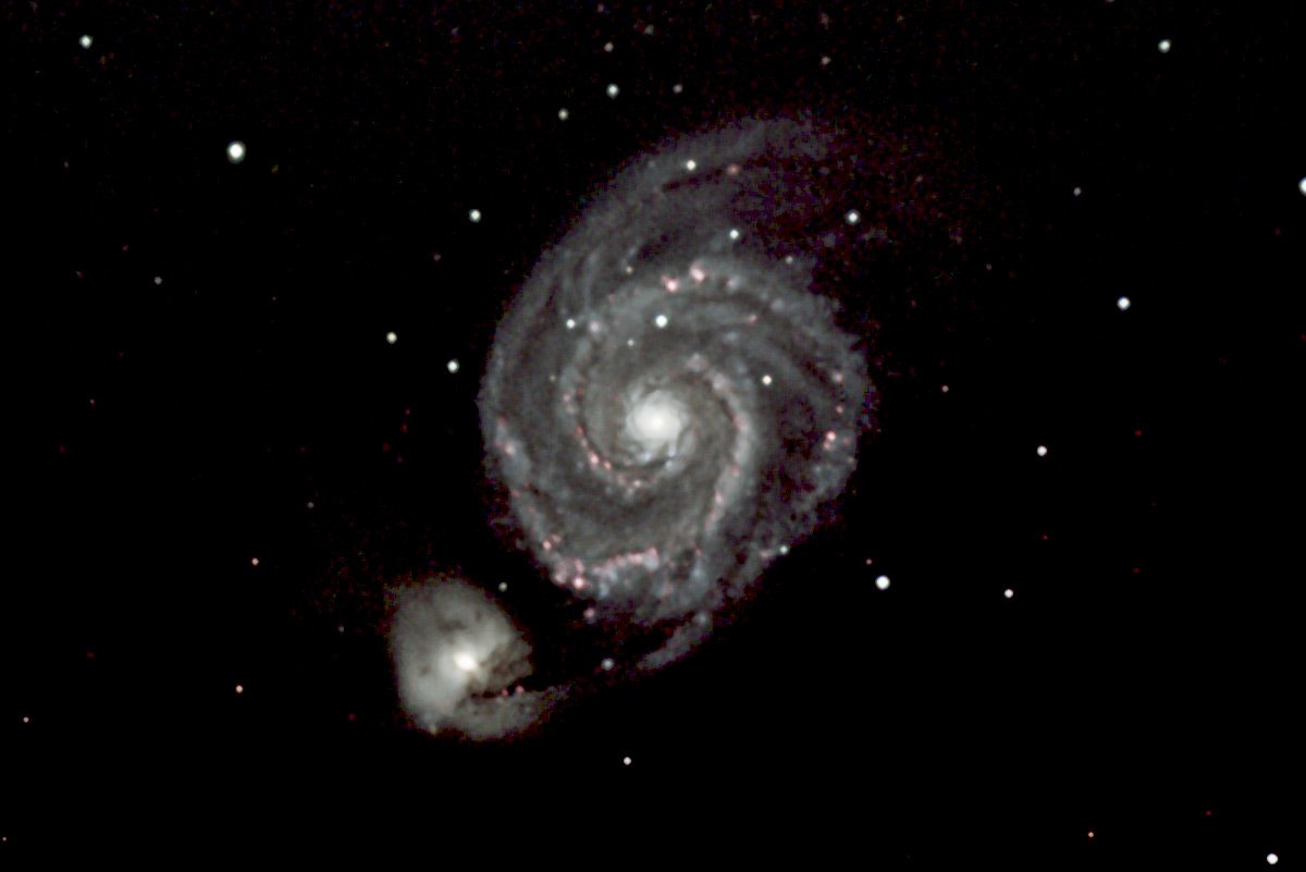 The beautiful Whirlpool Galaxy is a springtime favorite in the constellation Canis Venatici. This face-on spiral galaxy is shown along with its companion NGC5195. This image shows the LRGB image with the H-Alpha channel overlaid.