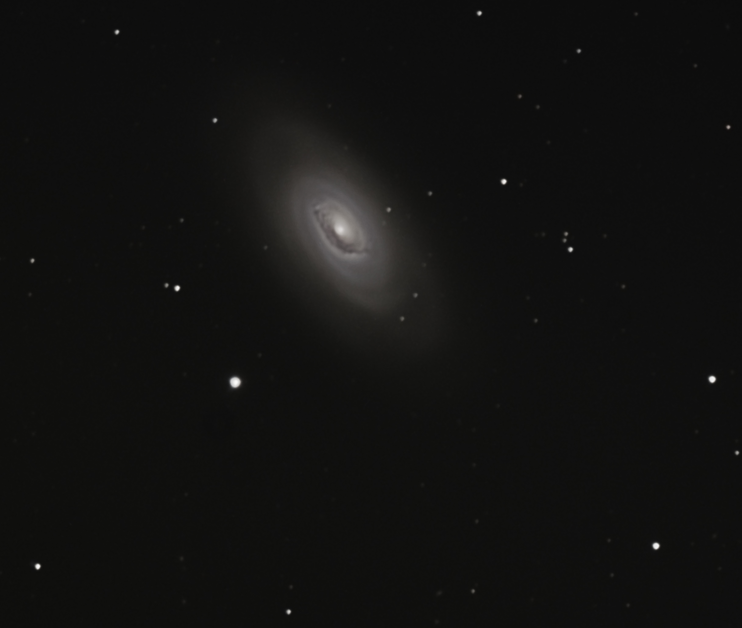 The Black Eye Galaxy in Coma Berenices, known for its distinctive dark lane near the galaxy's core.  This is the result of eight 15-minute exposures taken with a QSI583wsg one-shot color camera and Celestron HD1100 Schmidt-Cassegrain.