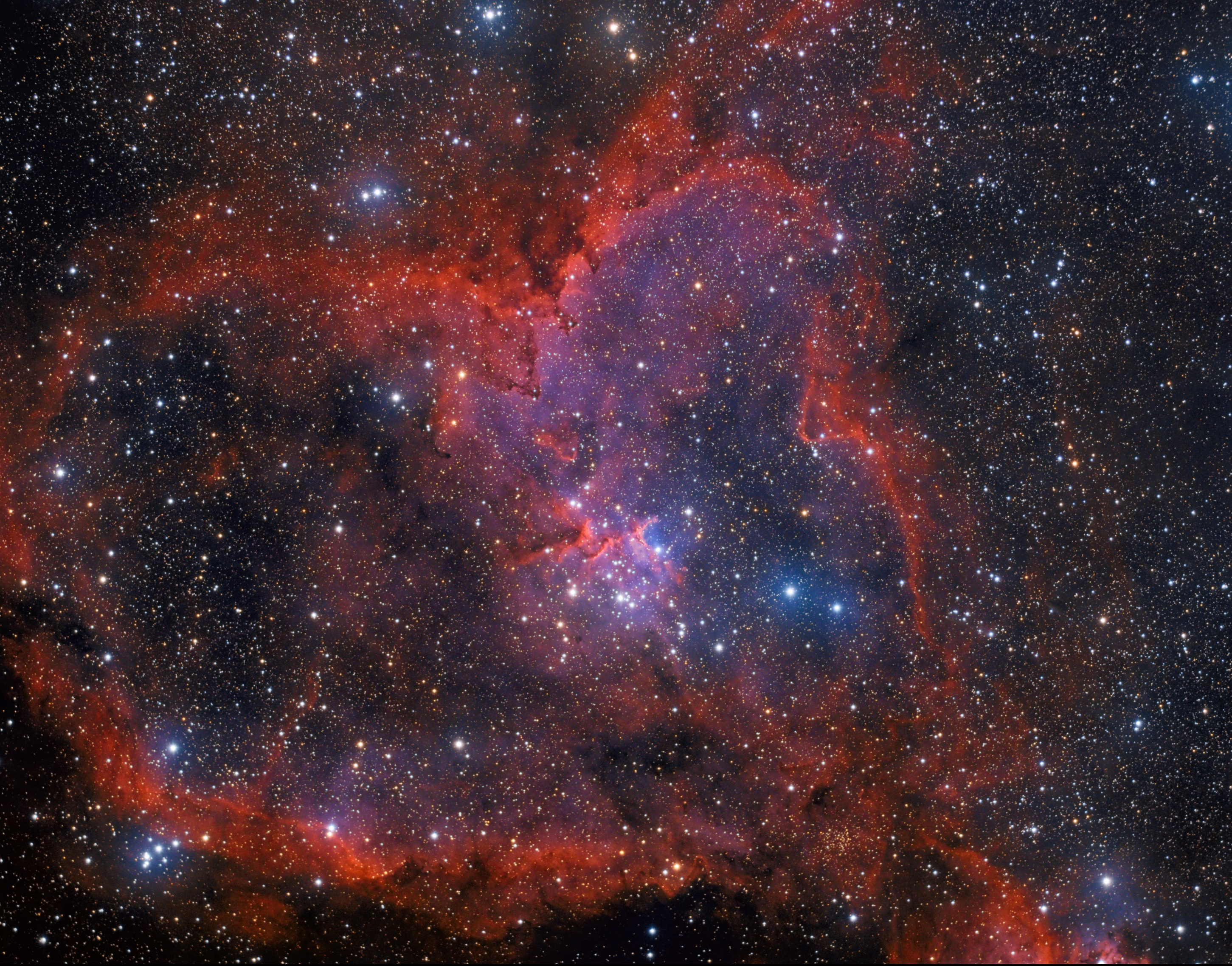 The Heart Nebula in NB and LRGB