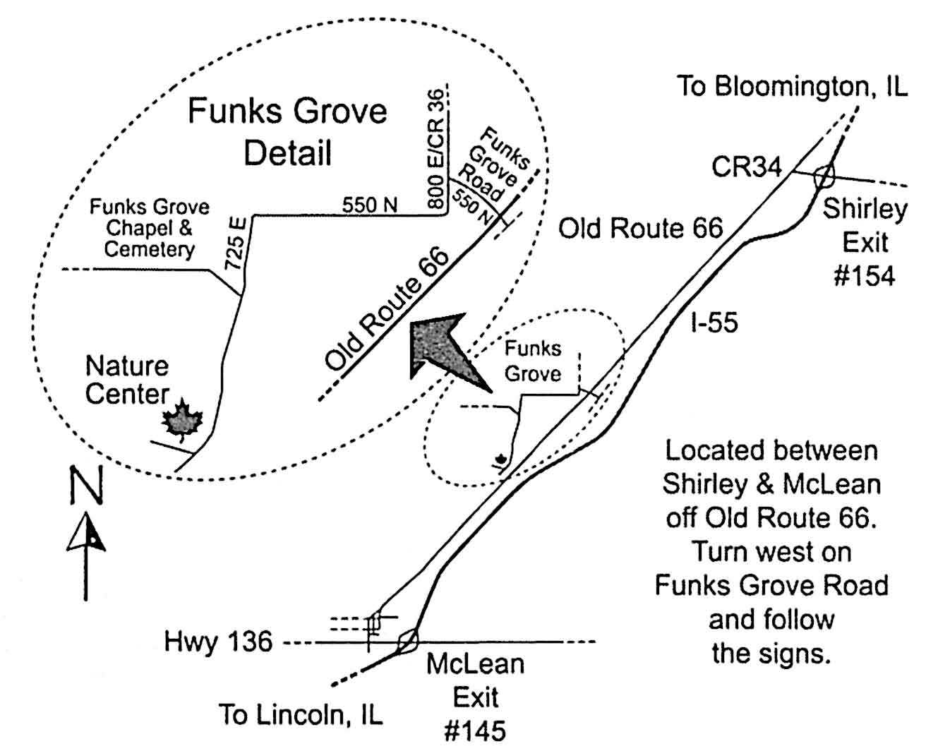 Map to Sugar Grove Nature Center